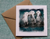 BLUE CREST, Camargue horses, Art Card, Horse Greeting card, Equine photography, Nautical Equine
