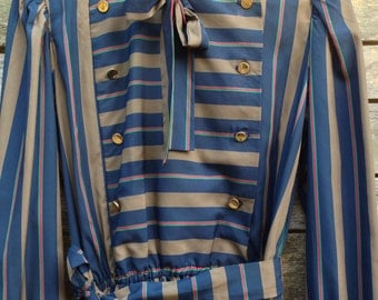 1970's 'Kappi' Blue, Brown and Red Pin stripe Double Breasted Dress