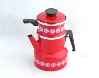 Vintage Red Enamel Coffee pot, Kettle Water ware, made in 70s, Gift for her, Redpot, Summer kitchen decor