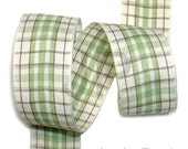 5meter  25mm Plaid Ribbon in Green on Cream