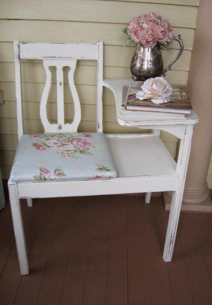 Shabby Chic Gossip Bench Telephone Stand Gossip Seat Shabby