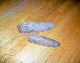 2 Primitive Wood Shoe Forms Wood Shoe Molds Late 1800s