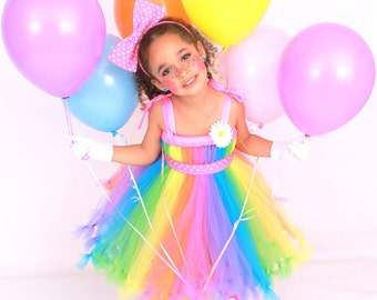 READY TO SHIP: Petti Tutu Dress - Halloween or Birthday Clown Costume - Pastel Rainbow - Big Top Beauty - 5-6 Youth Girl