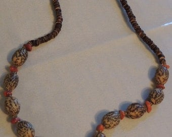 1950s Estate Unique Nut Beads with Wood Heishi Beads and Red Coral Nugget Chips Beaded Necklace