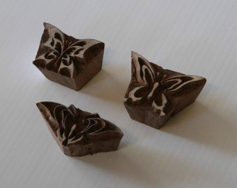 Indian Wood Stamps - Set of 3 - Butterflies - Wood Block Printing - India