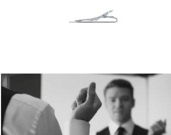 Personalized Modern tie clip in solid .925 sterling silver custom engraved tie bar - WEDDINGS - best man - groomsman