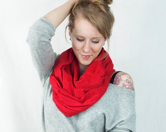 Red Infinity Scarf, Jersey Infinity Scarf, Red Scarf, Circle Scarf, Womens Scarf, Winter Scarf Gift for Her, Wife Gift , Mens Scarf