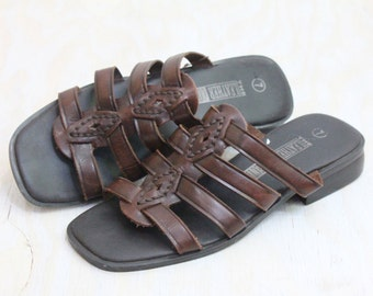 Vintage Chocolate Leather Sandals Sz 7