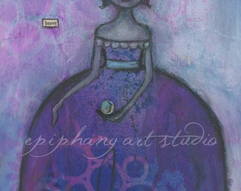 "Fine Art Print - 8"" x 12"" Giclee Purple Magical Wall Decor Art - ""A Brave New Magic"" Divine Feminine Gown Magic Mystery Mystical Mysterious"