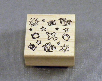 Travel Background Rubber Stamp