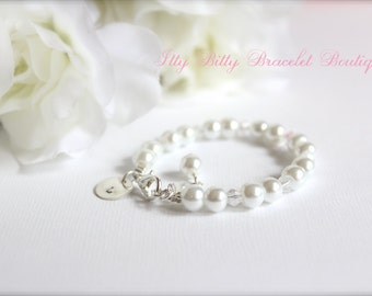 Sterling Silver Initial Personalized Charm, Flower Girl Gift, Girls Pearl Bracelet Flower Girl, Jr Bridesmaid -- FREE Gift Packaging
