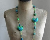 Green & turquoise paper bead necklace - handmade paper beads, felted hearts, wooden beads