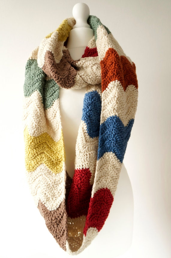 scarf crochet pattern zigzag scarf wrap around zig zag crochet ...