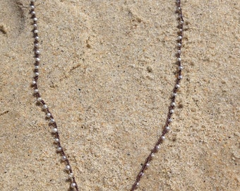 Delicate Sterling Seashell Charm on a White Freshwater Pearl Crocheted Necklace