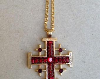 Deep red jerusalem cross pendant - Gold plated jerusalem cross pendant with Swarovski crystals and beads - hand-made by Adaya Jewelry