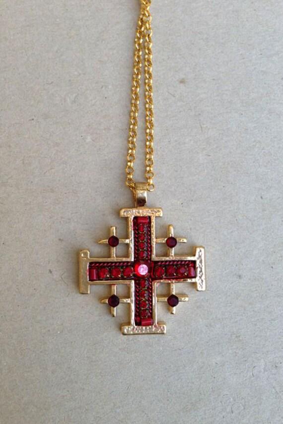 jerusalem cross pendant gold plated jerusalem cross