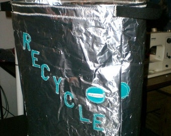 "Recycle Bin 18"" x 14"" x 7"" made from recycled coffee bags - made to order"