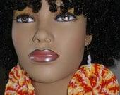 Large Crochet Earrings- Multi Orange