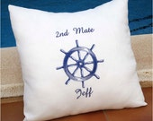 Nautical Personalized Embroidered  Pillow Cover  - Sea breeze - 100% Linen  Father's Day Birthday Bridal Shower Boat Gift