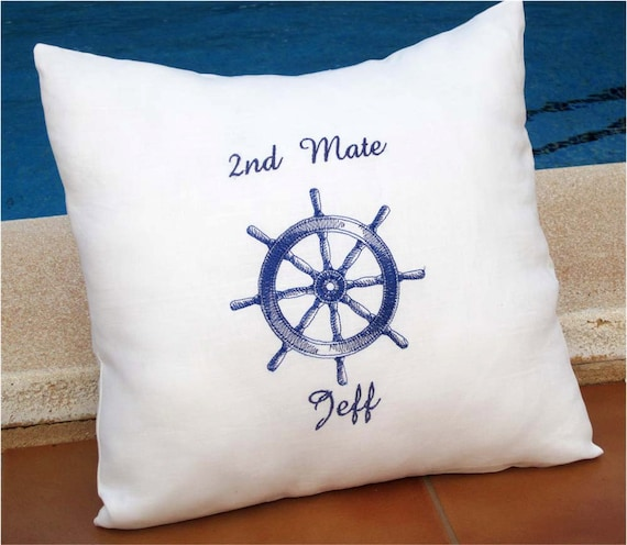 Nautical Personalized Embroidered Pillow Cover Sea breeze