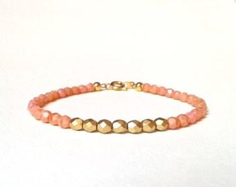Gold Nugget Bracelet, Dusky Pink Bracelet, Peach Beaded Bracelet, UK Seller