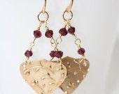 As Seen on TV TVD , Golden Garnet earrings , As seen on Caroline The Vampire diaries, As seen on Bonnie Kat Graham, TVD , January Birthstone