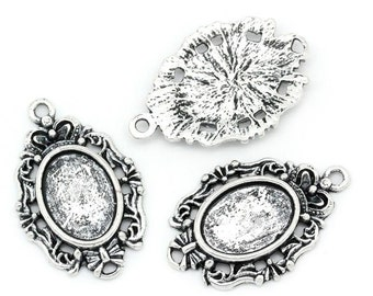 20 WHOLESALE Silver Oval Pendants - Antique Silver - Cabochon Setting - Hollow Flower - 29x19mm - Ships IMMEDIATELY from California - SC987a