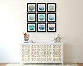 Ocean Photography Set, Nine Photographs, Blue Home Decor, Minimalist Art Set, Round Wall Art, Coastal Pictures