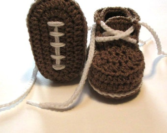 Baby booties.  Crochet baby football booties.  Infant football booties.  Made to order.