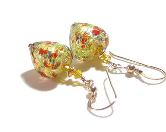 Murano Glass Colorful Gold Heart Dangle Earrings, Venetian Jewelry, Leverback Earrings, Italian Jewellery