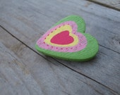 Green heart pin brooch made from wood - heart shaped badge - pin back brooches - the dorothy days -  small brooch - children jewellery gift
