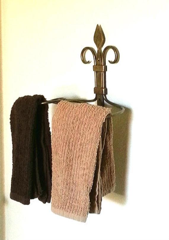 Items similar to fleur de lis towel holder candle unique bathroom kitchen decor copper - Fleur de lis towel rack ...