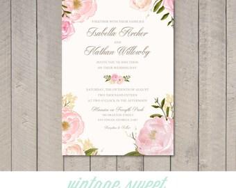 Vintage Floral Wedding Invitation (Printable) DIY by Vintage Sweet