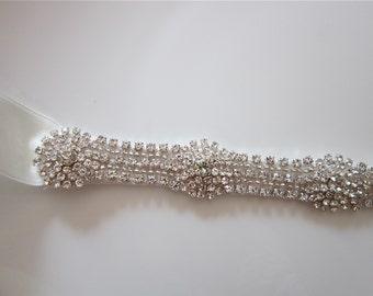 Thin Crystal Bridal Sash, Swarovski Crystal, Art Deco Bridal Sash, Crystal Flower, Wedding Sash -OLIVIA- CUSTOM ORDER