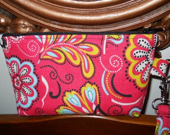 Wristlet, Make-up Bag, Purse, Cosmetic Bag, Organizer, Home Dec fabric, Bright Pink, Flowers, Swirls, Mini Purse