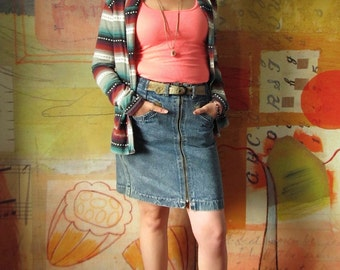 80S ROCKER )( Western Denim Skirt with Leather Belt )( Distressed Denim )( Weathered Blues )( M/L