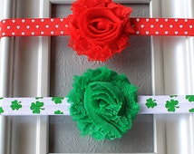 The Hearts & Shamrocks Combo Pack - Valentine's Day and St. Patrick's Day Flower Headband Set for Baby Girls, Toddlers, Kids