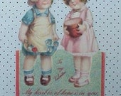 Darling Vintage Valentine Card-Little Boy and Girl Planting Flowers