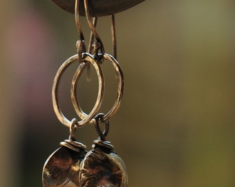 Sterling silver oxidized earrings, unique, timeless, lovingly hand forged