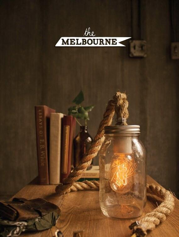 Items similar to Mason Jar Light Rope Lamp Table Lamp Desk Lamp Edison ...