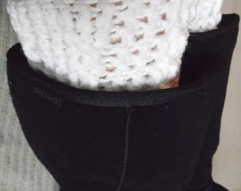 Boot Cuffs, Cabled -  Ready to Ship, Soft White