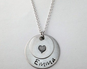 Sterling Silver Personalized Hand Stamped Necklace with heart