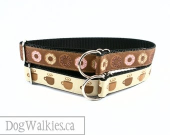 "Coffee and Doughnuts / 1"" (25mm) wide Dog Collar / Martingale Collar or Quick Release Buckle / Choice of collar style, pattern and size"