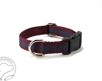 "Pride of Scotland Autumn Tartan Dog Collar - 3/4"" (19mm) wide -  Martingale or Side Release - Choice of style and size - Burgundy Plaid"