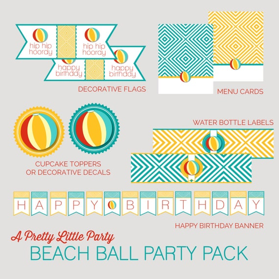 Beach Ball Party Pack  - Pool or Beach Party Digital files - Party Supplies - INSTANT DOWNLOAD
