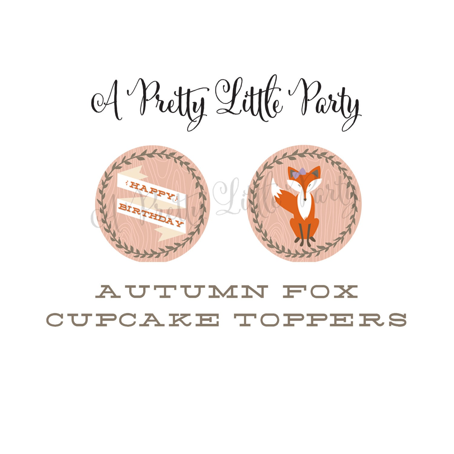 FOX Cupcake Toppers  - Woodland Fox Digital files - Party Supplies - INSTANT DOWNLOAD