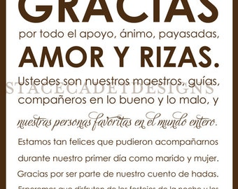 Custom Printable Spanish Wedding Thank You Card Digital File