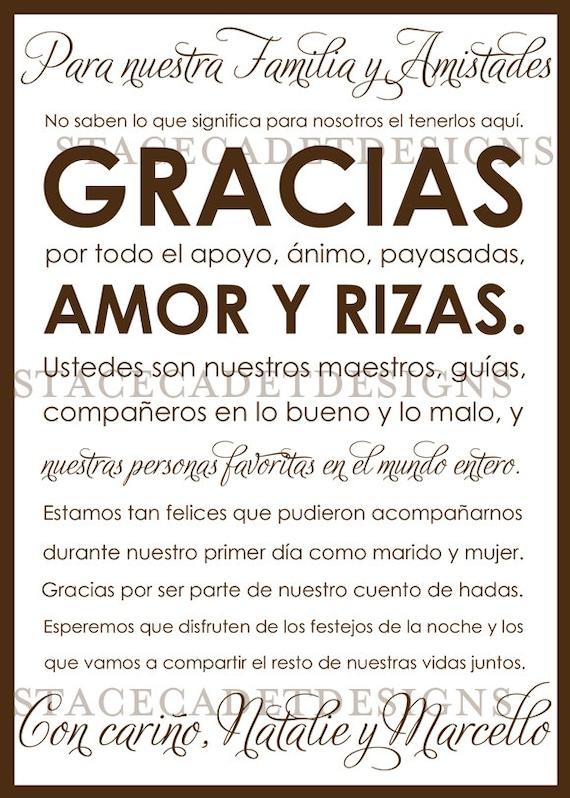 Custom Printable Spanish Wedding Thank You Card Digital File