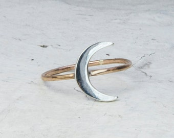 Silver & Gold Lunar Crescent Ring