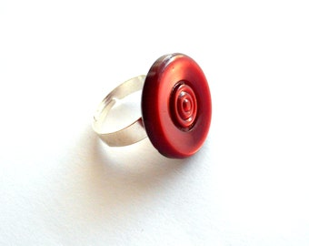 SALE Red ring adjustable upcycled jewellery vintage button ring repurposed jewelry large statement ring recycled jewelry